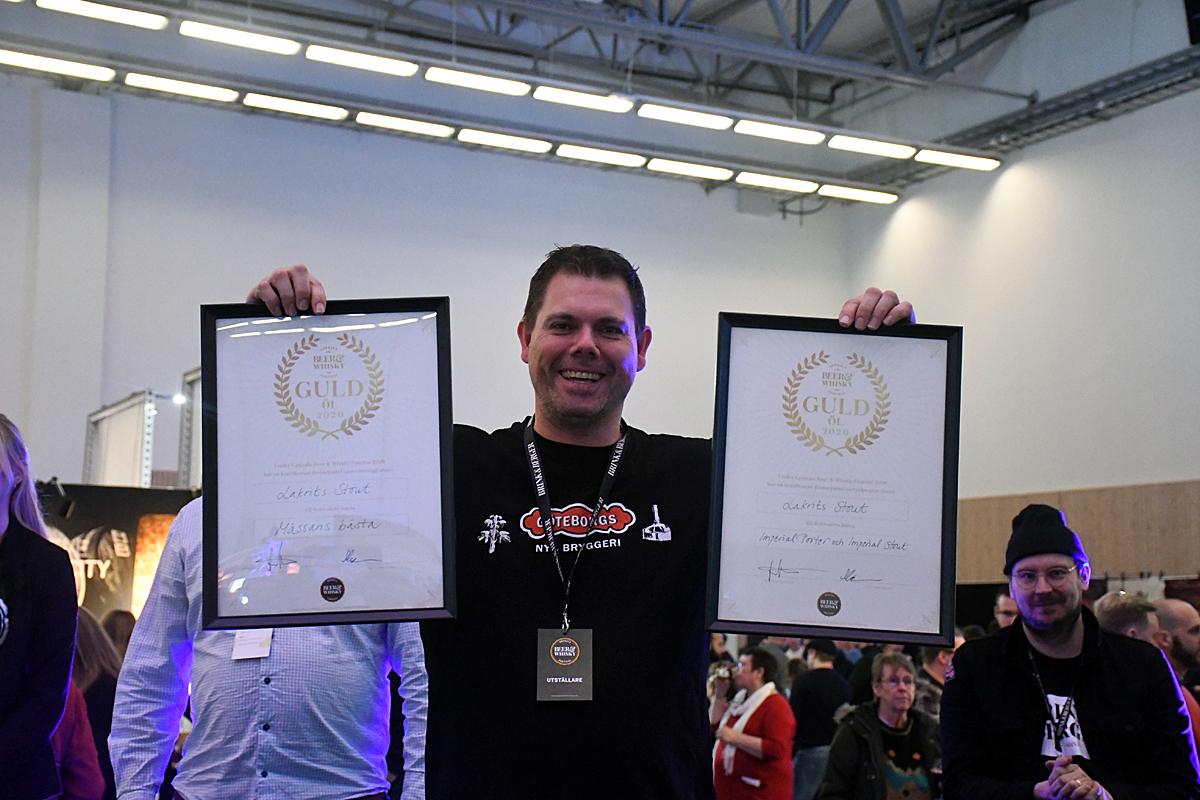 Martin Lundh fick två pris för samma öl. Göteborgs Nya Bryggeris lakritsstout vann domarnas pris även som festivalens bästa öl.